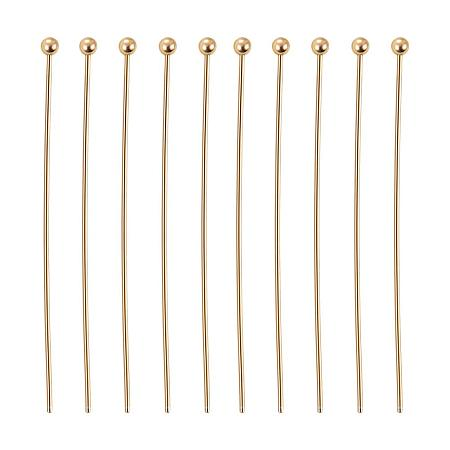 BENECREAT 100PCS  Real Gold Plated Ball Pins 22 Gauge Ball Head Pins for DIY Jewelry Making Findings - 35mm (1.4