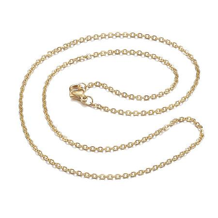 ARRICRAFT 10pcs 304 Stainless Steel Cable Chain Necklaces, with Lobster Claw Clasps, Golden, 18.11