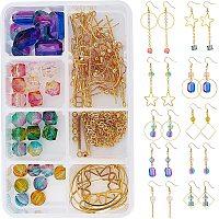 SUNNYCLUE 1 Box DIY 10 Pairs Acrylic Bead Drop Earrings Making Kit Two Tone Transparent Spray Painted Acrylic Beads & Rectangle Bar Charms Pendants & Earring Hooks for Handmade Earrings Beginner