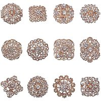 Arricraft 12 pcs Clear Rhinestone Crystal Flower Brooches Pins for Wedding Party Bouquet Broaches Kit Women Dress Decorations, Golden