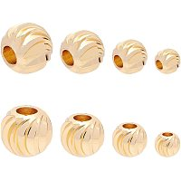 BENECREAT 80pcs 18K Gold Corrugated Round Spacer Gold Plated Brass Beads with 4 Mixed Size(1-2mm Hole) for Necklaces, Bracelets and Jewelry Making