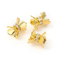 ARRICRAFT Brass Micro Pave Cubic Zirconia Bead Cap, Long-Lasting Plated, Flower, Clear, Golden, 11x11mm, Hole: 0.9mm