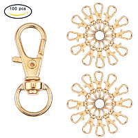 PandaHall Elite 100 Pcs Alloy Swivel Lobster Claw Clasps with Snap Hook 32.5x11mm Golden