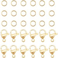 PandaHall Elite 120 pcs 4mm 304 Stainless Steel Jump Rings with 60pcs Lobster Claw Clasps for Earring Bracelet Necklace Pendants Jewelry DIY Craft Making, Golden