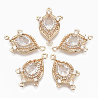 Arricraft Glass Chandelier Component Links, with Brass Micro Pave Cubic Zirconia, Faceted, Horse Eye, Light Gold, Clear, 25x16x5mm, Hole: 1.2mm