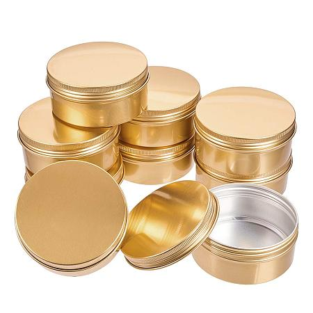 BENECREAT 10 Pack 5 OZ Tin Cans Screw Top Round Aluminum Cans Screw Lid Containers - Great for Store Spices, Candies, Tea or Gift Giving (Gold)