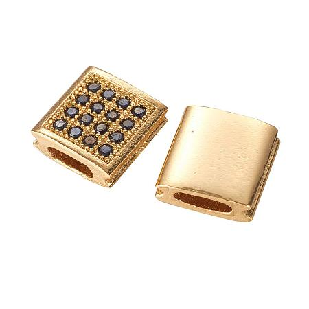 ARRICRAFT Brass Micro Pave Cubic Zirconia Beads for Jewelry Making, Square, Golden, 9x9x3.5mm, Hole: 2x5mm