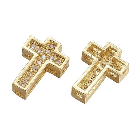 ARRICRAFT 10 pcs Cross Shape Brass Cubic Zirconia Spacer Beads with 1mm Hole for Jewelry Making, Golden