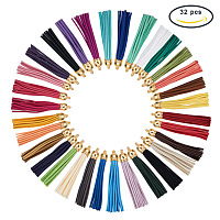 PandaHall Elite 32 Pcs Faux Suede Leather Tassel Pendants Decorations with Platinum End Caps for Key Chain Cellphone Straps DIY Jewelry Accessories 32 Colors
