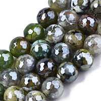 ARRICRAFT Natural Agate Beads Strands, Pearl Luster Plated, Faceted, Round, Yellow Green, 9~10mm, Hole: 1mm, about 37pcs/strand, 14.17 inches~14.57 inches(36~37cm)