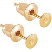 BENECREAT 100PCS 18K Gold Plated Flat Earring Studs with Ear Nuts for DIY Earring Jewelry Making