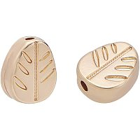BENECREAT 20PCS 18K Gold Plated Spacer Beads Leaf Shape Alloy Beads for Bracelet Necklace DIY Jewelry Making - 7x5x2mm, Hole: 0.5mm