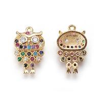 Brass Cubic Zirconia Pendants, Owl, Colorful, Golden, 19.5x12x4mm, Hole: 1mm
