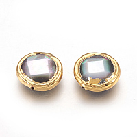 Black Lip Shell Beads, Edge Plated, Faceted, Flat Round, Golden, 14~14.5x4.5~5mm, Hole: 0.8mm
