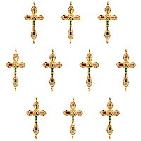 """NBEADS 5 Pcs 1.27"""" Long Brass Link Pendants, Colorful Micro Pave Cubic Zirconia Charm Pendants Golden Jewelry Charm with 2-Hole(1.2mm) for DIY Crafts Making"""