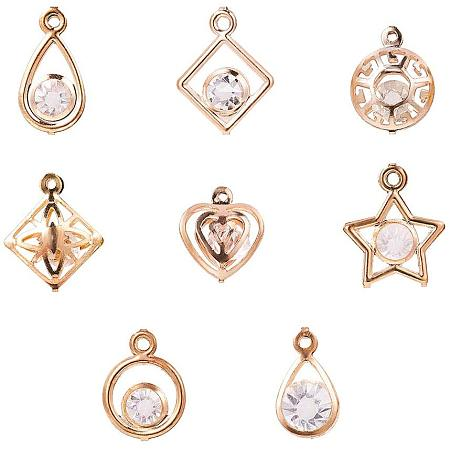 PandaHall Elite 80 pcs 8 Styles Glass Rhinestone Pendants with Iron Findings, Ring/Heart/Flat Round/Star/Rhombus Shape Charms Sets for Jewelry Making, Golden