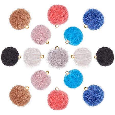 PandaHall Elite 80pcs 8 Colors Pompoms Earrings Charms Fabric Fur Metallic Pompoms Earrings Charms Colorful DIY Fluffy Ball for Tassel Earrings Charm Pendant Jewelry Making