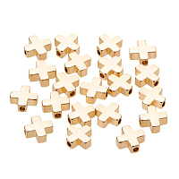 BENECREAT 20 PCS  Gold Plated Beads Metal Beads for DIY Jewelry Making and Other Craft Work - 8x8x3mm, Cross Shape