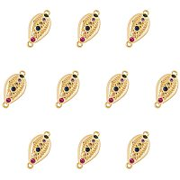 """NBEADS 10 Pcs 0.68"""" Long Cowrie Shell Shape Brass Link Pendants, Colorful Micro Pave Cubic Zirconia Cowrie Shell Charm Pendants Golden Jewelry Charm with 2-Hole(1.2mm) for DIY Crafts Making"""