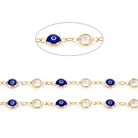 ARRICRAFT Handmade Brass Link Chains, with Glass & Cubic Zirconia, Soldered, Long-Lasting Plated, Flat Round with Evil Eye, Golden, 13x6.5~7x3mm, about 32.8 Feet(10m)/roll