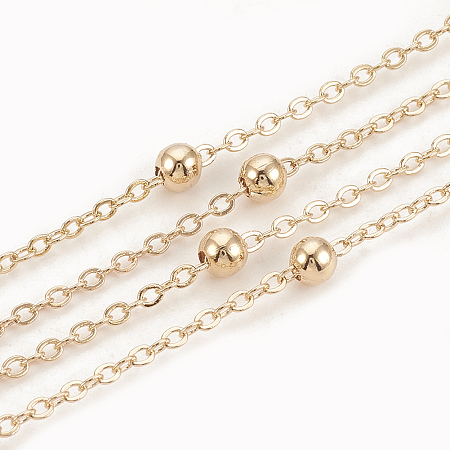 Arricraft Brass Cable Chains, Satellite Chains, with Round Beads, Soldered, with Spool, Flat Oval, Real 18K Gold Plated, 2x1.5x0.2mm; 10m/roll