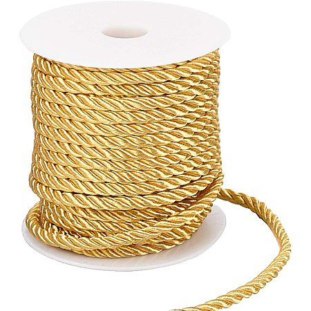 PandaHall Elite 5mm Decorative Twisted Cord, 3-Ply Polyester Cord Rope String Thread for Home Décor, Embellish Costumes, Honor Cord, Christmas Bag Drawstrings (59 Feet, Gold)