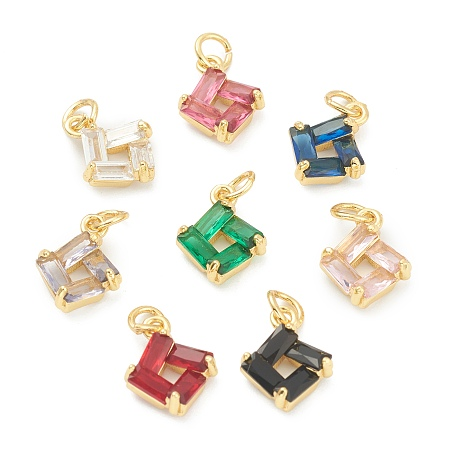 ARRICRAFT Brass Cubic Zirconia Pendants, with Jump Rings, Square, Mixed Color, 13x10x4mm, Hole: 3.5mm