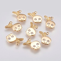 Brass Micro Pave Cubic Zirconia Charms, Skull, Real 18K Gold Plated, 13x12x1.5mm, Hole: 1mm