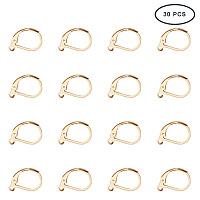 PandaHall Elite 30pcs 10x15mm Stainless Steel Lever Back Earrings Findings Earring Leverback Hoop Golden