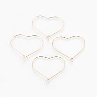 Brass Hoop Earrings, Heart, Nickel Free, Real 18K Gold Plated, 22 Gauge, 30x36x1.5mm; Pin: 0.6mm