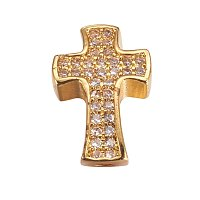 NBEADS 10PCS Brass Cubic Zirconia Beads Gold Cross Beads Charm Fit for European Bracelet and Necklace,14x9x4mm