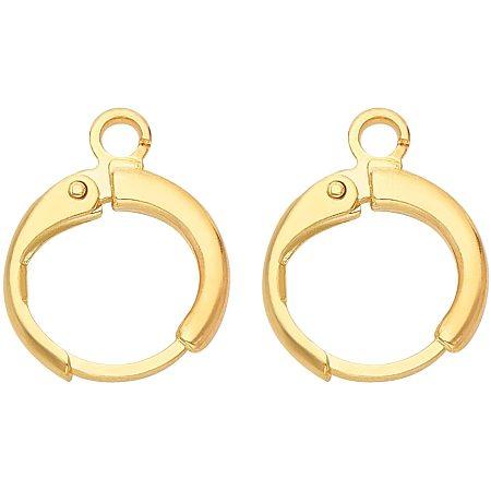 BENECREAT 40PCS 18K Gold Plated Round Hoop Earrings Spring Hoop Earring for DIY Jewelry Making