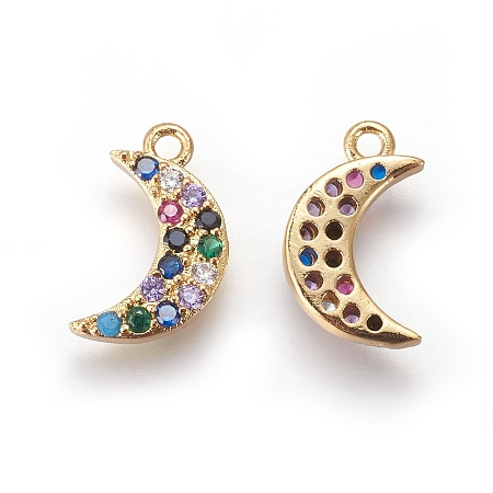Brass Cubic Zirconia Charms, with Enamel, Moon, Colorful, Golden, 13.5x8x2mm, Hole: 1mm