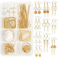 SUNNYCLUE 1 Box DIY 10 Pairs Geometric Shell Dangle Earrings Making Kit Metal Long Drop Earring with Flat Round Shell Pendant Charms Brass Linking Rings for Jewelry Making Supplies Craft Instruction