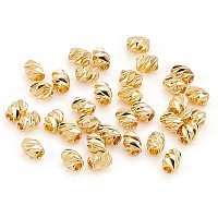 BENECREAT 100Pcs 18K Gold Plated Brass Beads Barrel Spacer Beads Fancy Cut 1mm Hole Beads(4x3mm) for Necklaces, Bracelets and Jewelry Making