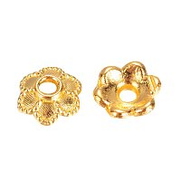 NBEADS 6-Petal Flower Golden Alloy Spacer Bead Caps for Jewelry Making, 6x2mm, Hole: 1mm