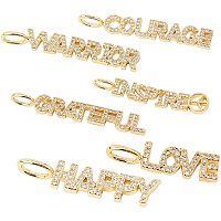 NBEADS 6 Pcs Word Charm Cubic Zirconia Pendants, Clear Golden Brass Micro Pave Cubic Zirconia Pendants for Jewelry Making