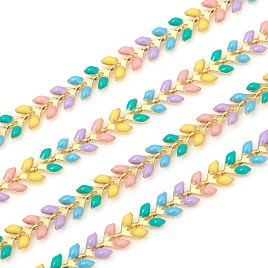 Brass Handmade Chains, Unwelded, with Enameled Cobs, Long-Lasting Plated, Leaf, Real 18K Gold Plated, Real 18K Gold Plated, Colorful, 6.5x7x2mm
