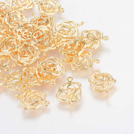 Arricraft Brass Links/Connectors, Real 18K Gold Plated, Flower, 15.5x10x2mm, Hole: 1mm