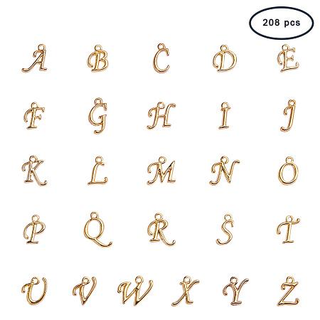 PandaHall Elite 208pcs A-Z Alphabet Charm Pendant Loose Beads Gold Color A-Z Letter Pendant Jewelry Making(8 pcs Each Letter)
