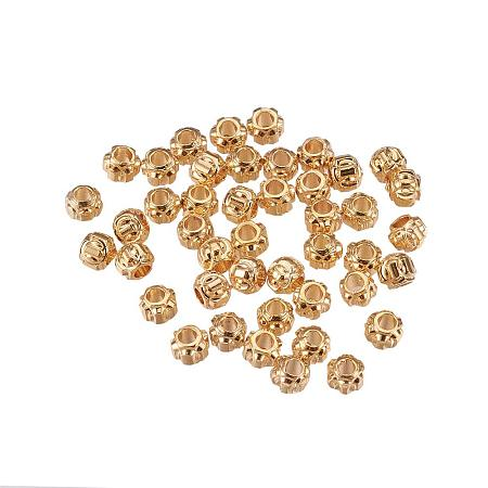 ARRICRAFT Brass Bead Spacers, Real Gold Plated, Lantern, 3x2.5mm, Hole: 1mm
