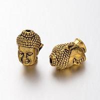 Alloy 3D Buddha Head Beads, Antique Golden, 13x8.5x8mm, Hole: 1.5~2mm