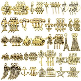 SUNNYCLUE 1 Box 80PCS 20 Style Antique Gold Charms Pendants Mixed Type DIY Jewelry Making Bracelets Necklace Lead Free & Cadmium Free & Nickel Free