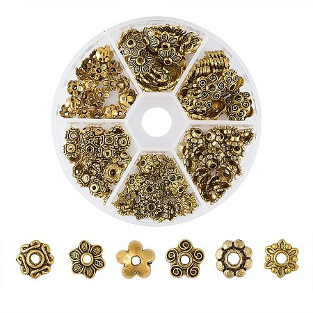 ARRICRAFT 1 Box Assorted 6 Different Shape Tibetan Style Alloy Flower Bead Caps for Jewelry Making, Antique Golden