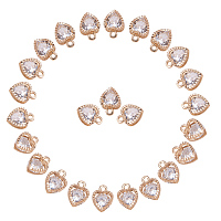 PandaHall Elite Size 10x8.5x5mm 100 Pcs Golden Alloy Heart Shape Charms with Cubic Zirconia for Jewelry Making