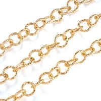 ARRICRAFT Aluminium Rolo Chains, Belcher Chain, Textured, with Spool, Unwelded, Light Gold, 11.5x2mm, about 32.8 Feet(10m)/roll