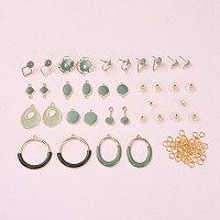 NBEADS Alloy Stud Earring & Link & Pendant Findings, with Enamel, Mixed Shapes, DarkGreen, Light Gold, Pin: 0.7mm