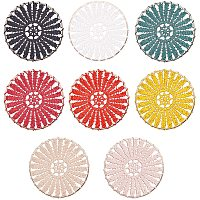 PandaHall Elite 32pcs 8 Colors Woven Charms Pendants 2 Inches Round Woven Polyester Chandelier Charms for Earrings Making Charms Bag Keychain Cellphone Decorations