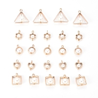 ABS Plastic Imitation Pearl Pendants, with UV Plating Acrylic Findings, Triangle/Square/Ring/Heart/Flower, Light Gold, 25pcs/set