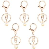 PandaHall Elite 15pcs Lobster Clasp Keychain Snap Hook Key Chain Rings Hook Lanyard with Decor Imitation Pearl for Keychain DIY Bags, Light Gold